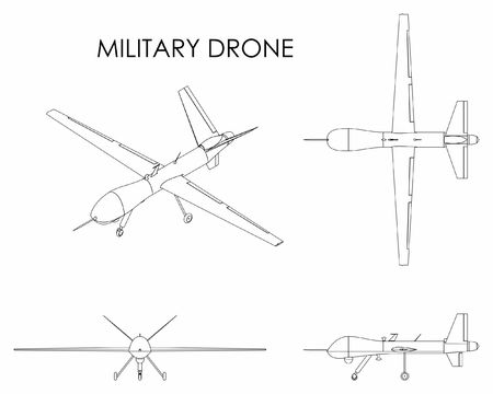Military drone predator. Outline only.