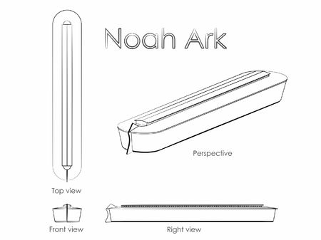 Noah Ark outline like a brushstrokes