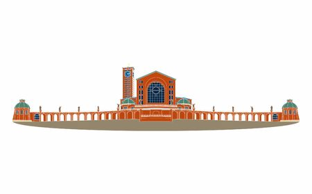 Illustration of the basilica of Aparecida without outline and colored.