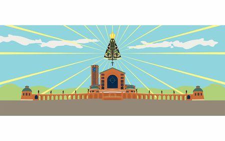 Illustration of the basilica of Aparecida and Our Lady Aparecida.