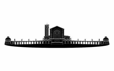 Illustration of the basilica of Aparecida black fill.