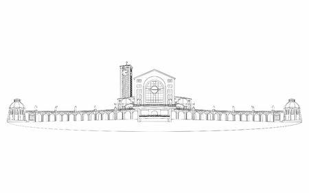 Illustration of the basilica of Aparecida different outline like a brushstrokes. Ilustração