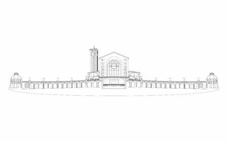 Illustration of the basilica of Aparecida outline only.