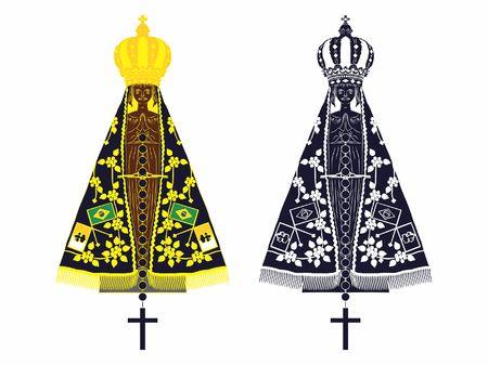 Our Lady Aparecida set with different colors and rosary Ilustração