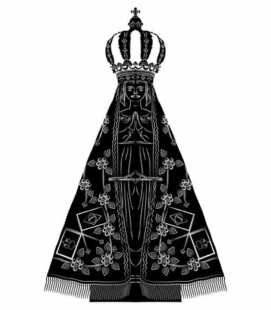 Our Lady Aparecida black fill Illustration