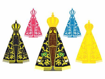 Our Lady Aparecida set with different colors Ilustração