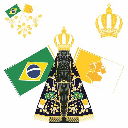 Our Lady Aparecida. Brazil and vatican ornament flags.