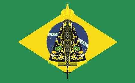 Our Lady Aparecida. Brazil flag background.