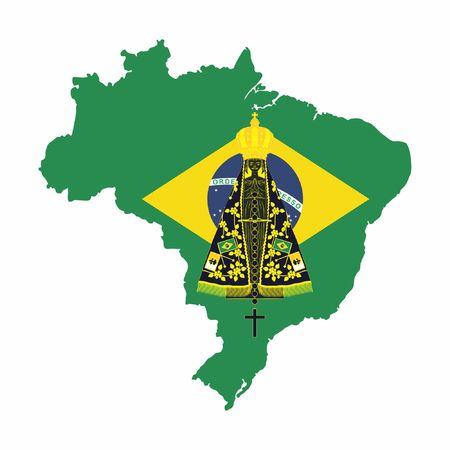 Our Lady Aparecida. Brazil map with flag background.