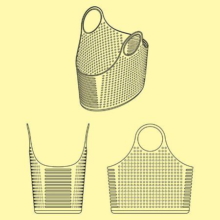 Plastic basket outline only Ilustração