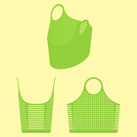 Plastic basket simple views and shades of green