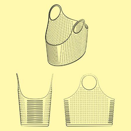 Plastic basket with different outline like brushstrokes Ilustração