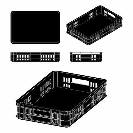 Plastic crate black fill