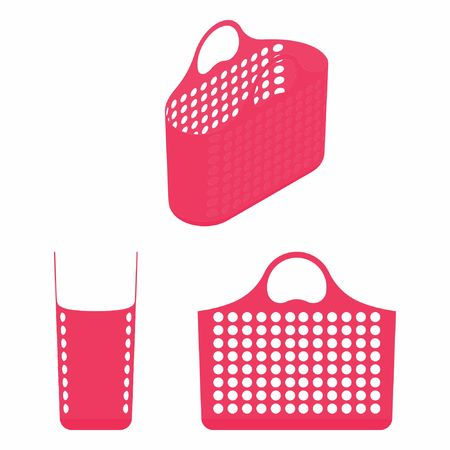 plastic shopping basket with shades of pink