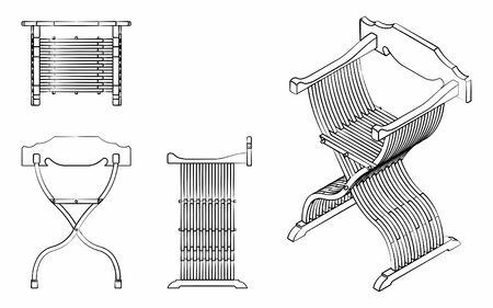 Roman seat outline like brushstrokes
