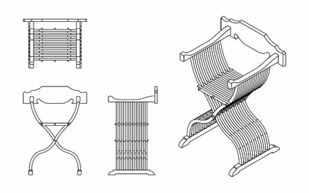 Roman seat outline only Illustration