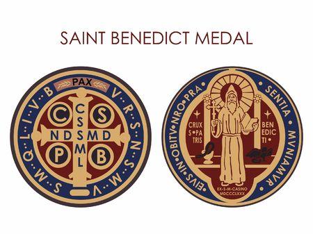 saint benedict medal Vetores
