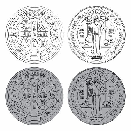 Saint Benedict Medals Set different colors with different outline like brushstrokes