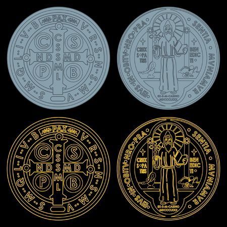 Saint Benedict Medals Set colors with outline