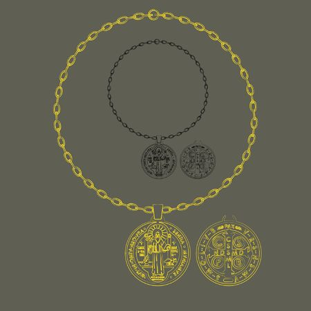 Saint Benedict artistic silhouette chain