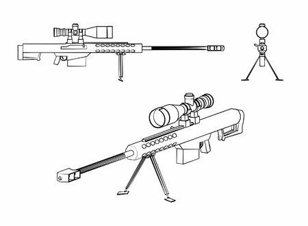 Sniper gun outline like brushstrokes