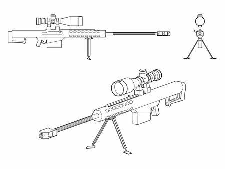 Sniper gun outline only Ilustração Vetorial