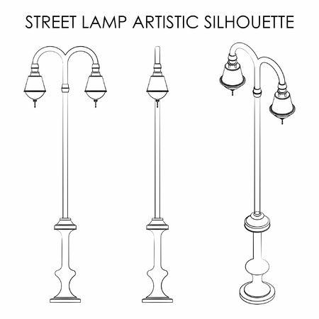 Street lamp outline like brushstrokes