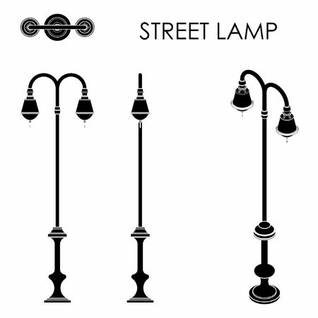 Street lamp black fill Illustration