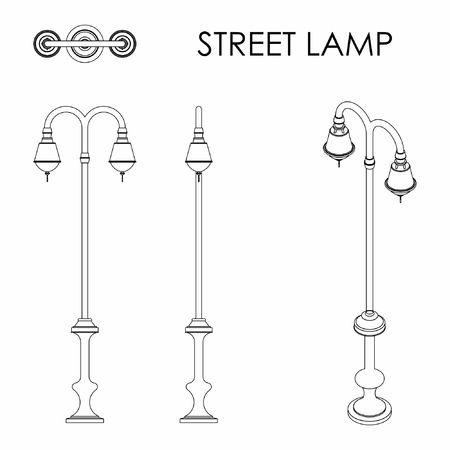 Street lamp outline only Vetores