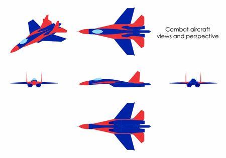 Combat aircraft colored. Ilustração