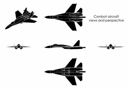 Combat aircraft. Black fill.