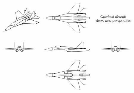 Combat aircraft. Outline like a brushstrokes.