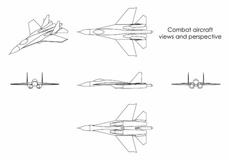 Combat aircraft. Outline only.