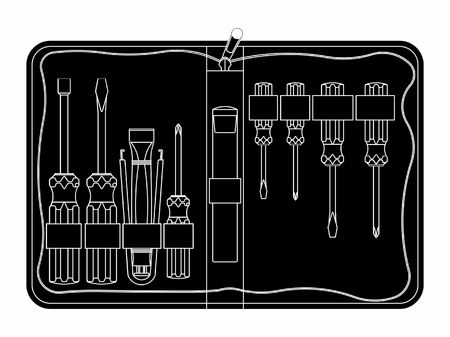 Tool kit maintenance. Black fill. Ilustração