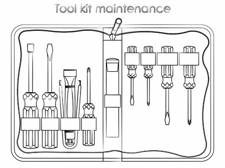 Tool kit maintenance. Outline like a brushstrokes.