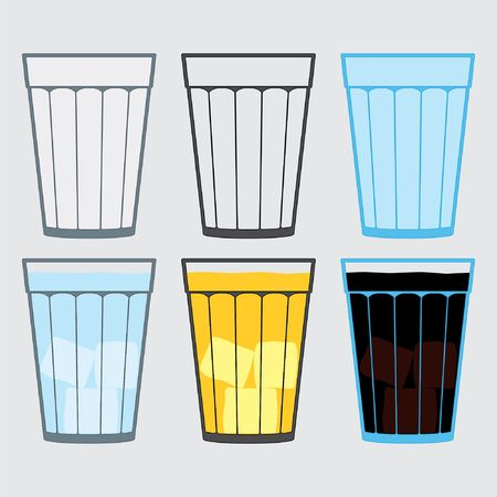 Illustration of cup, glass, traditional drinks