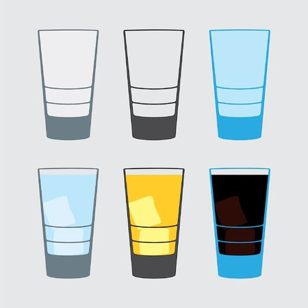 Illustration of little cup, glass, traditional drinks