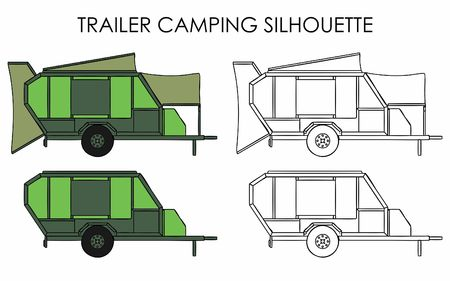 Trailer camping silhouette