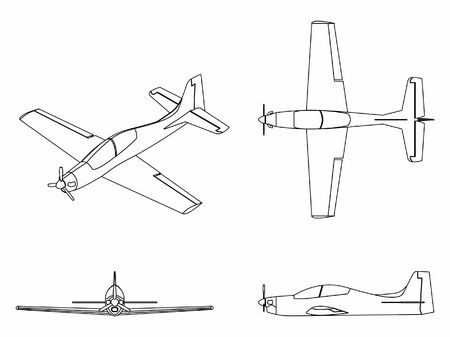 Airplane Tucano. Outline only. Vectores