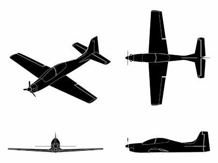 Airplane Tucano. Black fill.