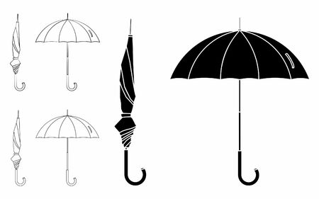 Umbrella closed and open. Outline only. Black fill.