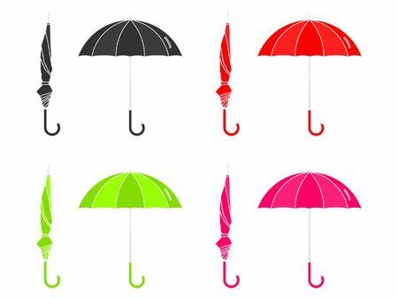 Umbrella closed and open. Without outline. Ilustração