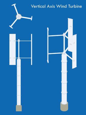 Éolienne à axe vertical coloré Vecteurs