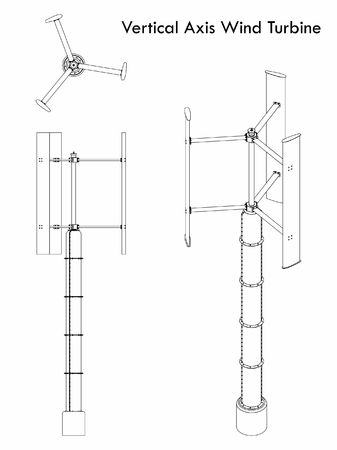 Vertical Axis Wind Turbine outline only