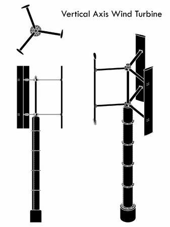 Vertical Axis Wind Turbine. Black fill. Ilustração