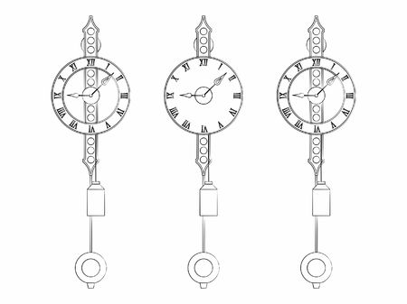 Wall Classic clock different outline like brushstrokes