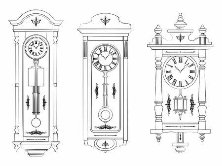 Esquema de reloj de pared como pinceladas Ilustración de vector