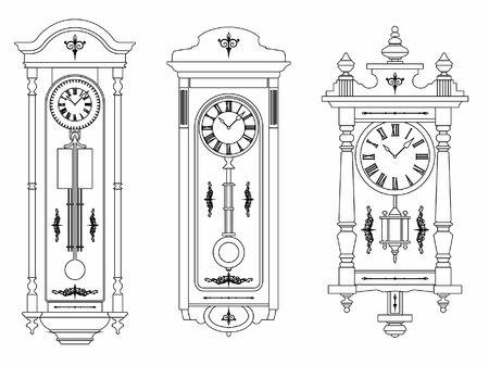Wall clock outline only Ilustração