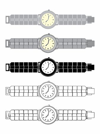 watch colored and silhouette Illustration