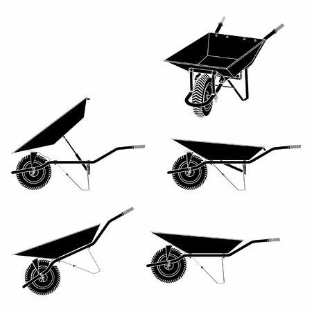 Wheelbarrow multiple views and black fill.